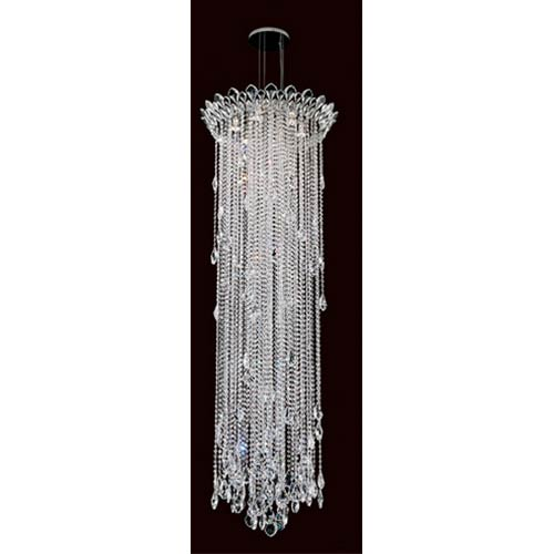 Trilliane Strands Stainless Steel Six-Light Round Long Pendant with Clear Heritage Crystal