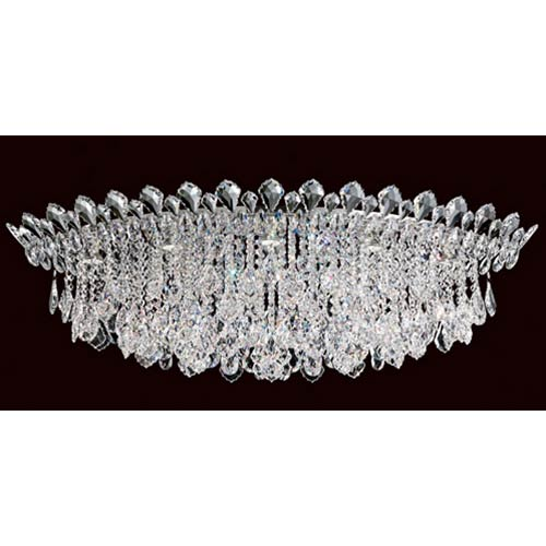 Trilliane Strands Stainless Steel Eight-Light Eye Short Flush Mount with Clear Heritage Crystal