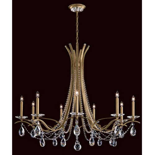 Schonbek  Vesca Heirloom Gold Nine-Light Chandelier with Clear Spectra Crystal