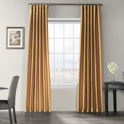Flax Gold Vintage Textured Faux Dupioni Silk Single Panel Curtain, 50 X 96