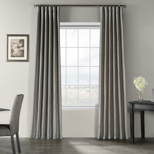 Half Price Drapes Silver Vintage Textured Faux Dupioni Silk Single Panel Curtain, 50 X 84
