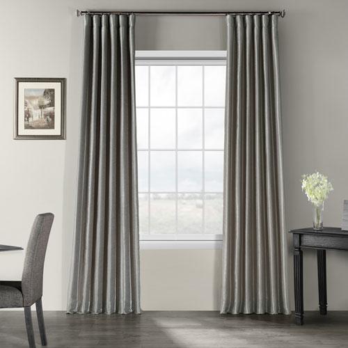 Silver Vintage Textured Faux Dupioni Silk Single Panel Curtain, 50 X 108