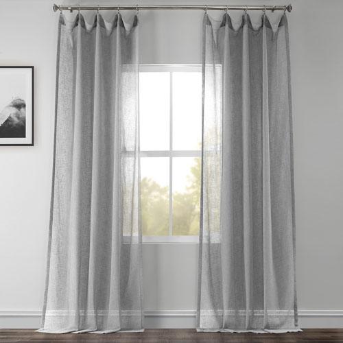Nickel Faux Linen Sheer Single Panel Curtain Panel, 50 X 96