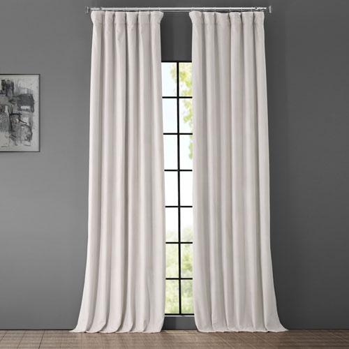 Porcelain White Blackout Velvet Pole Pocket Single Panel Curtain, 50 X 108