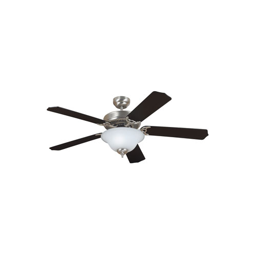 Quality Max Plus Brushed Nickel Energy Star Two-Light LED Ceiling Fan with Cerused Oak and Ebony Blades