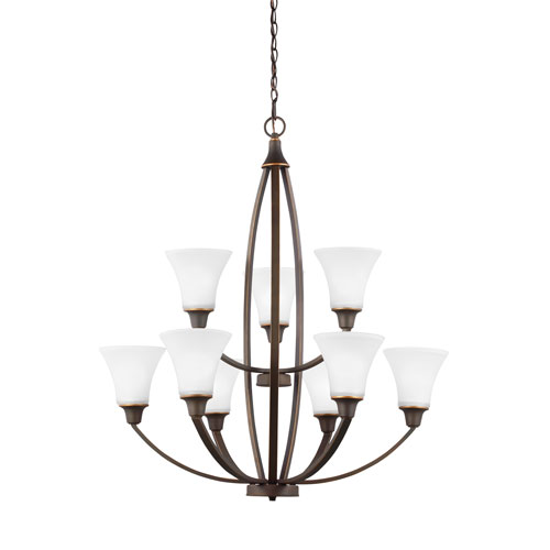 Metcalf Autumn Bronze Energy Star Nine-Light LED Chandelier