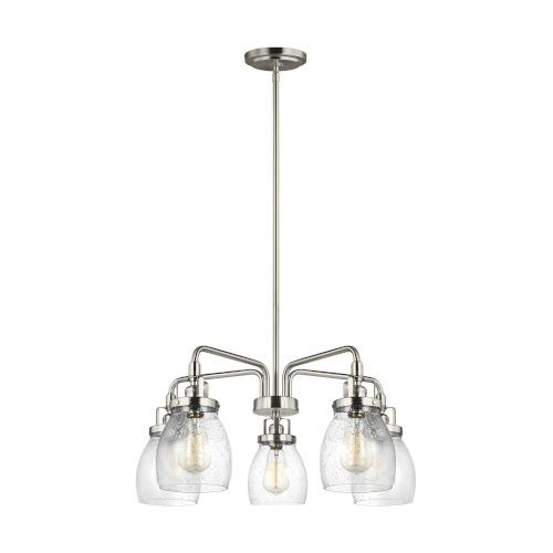 Belton Brushed Nickel 24-Inch Five-Light LED Chandelier with Seeded Glass