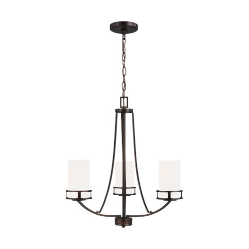 Robie Bronze Three-Light Chandelier with Etched White Inside Shade Energy Star