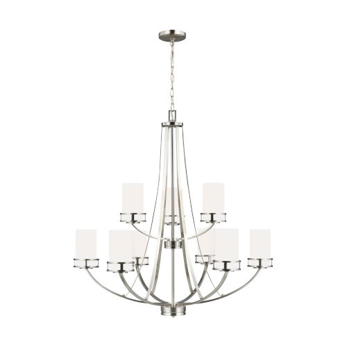 Robie Brushed Nickel Nine-Light Chandelier with Etched White Inside Shade