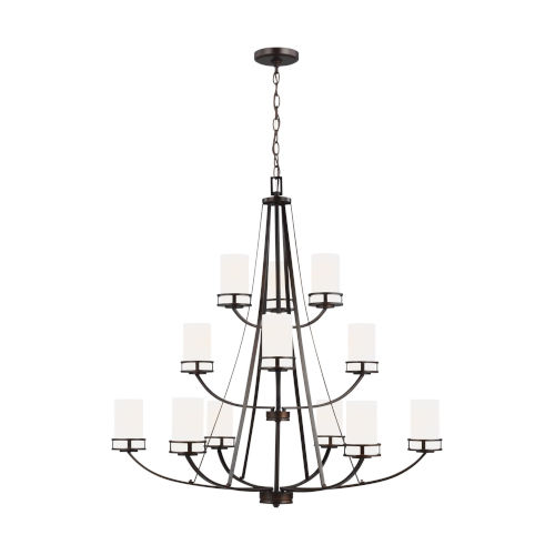 Robie Burnt Sienna 12-Light Chandelier with Etched White Inside Shade Energy Star