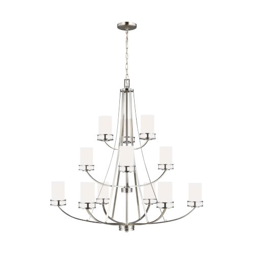 Robie Brushed Nickel 12-Light Chandelier with Etched White Inside Shade Energy Star