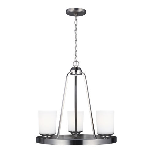 Kemal Brushed Nickel Three-Light Chandelier with Etched White Inside Shade