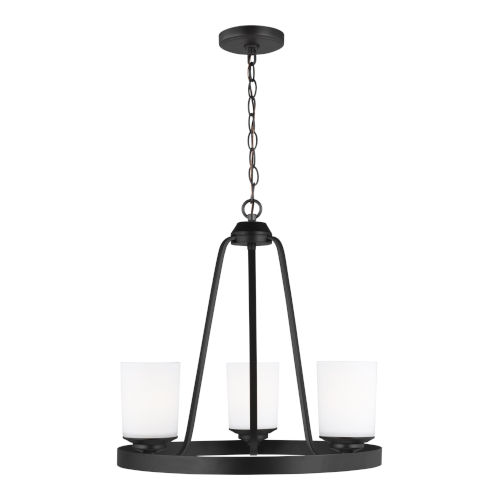 Kemal Midnight Black Three-Light Chandelier with Etched White Inside Shade Energy Star