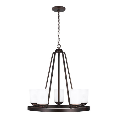 Kemal Bronze Five-Light Chandelier with Etched White Inside Shade