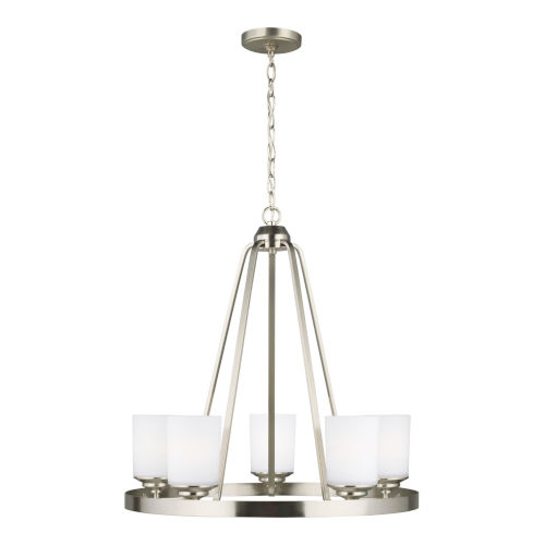 Kemal Brushed Nickel Five-Light Chandelier with Etched White Inside Shade