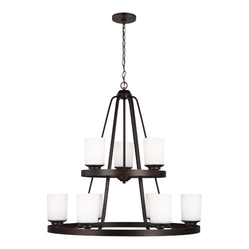 Kemal Bronze Nine-Light Chandelier with Etched White Inside Shade Energy Star