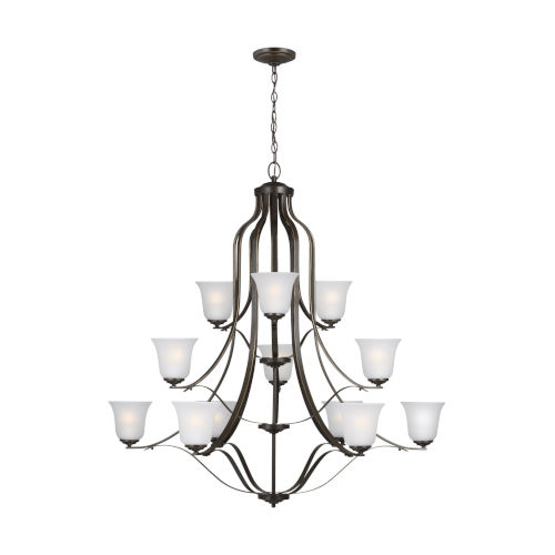 Emmons Heirloom Bronze 12-Light Chandelier with Satin Etched Shade Energy Star