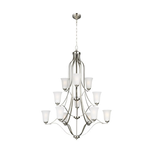 Emmons Brushed Nickel 12-Light Chandelier with Satin Etched Shade Energy Star