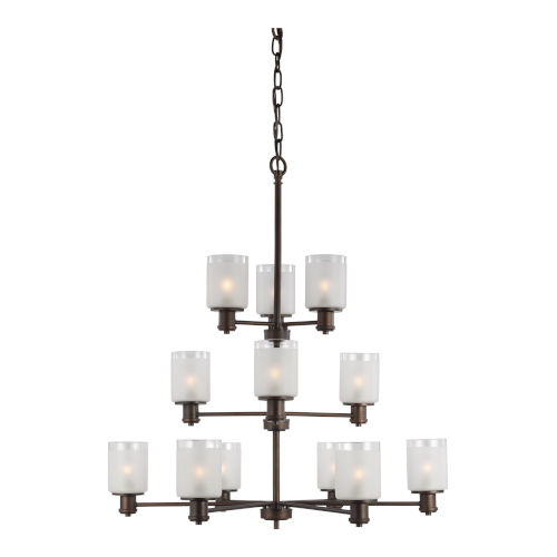 Norwood Bronze 12-Light Chandelier with Clear Highlighted Satin Etched Shade