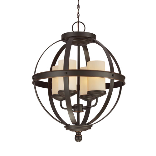 Sea Gull Lighting Sfera Autumn Bronze Energy Star 19-Inch Four-Light LED Chandelier with Cafe Tint Glass