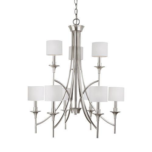 Sea Gull Lighting Stirling Brushed Nickel 30-Inch Nine-Light Chandelier