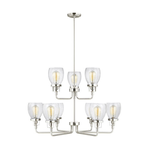 Belton Brushed Nickel Nine-Light Chandelier with Clear Seeded Shade