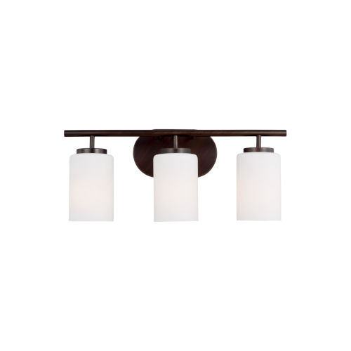 Oslo Burnt Sienna Three-Light Bath Vanity with Cased Opal Etched Shade