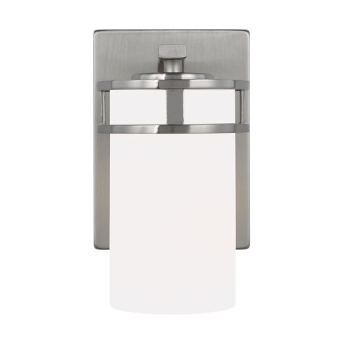 Robie Brushed Nickel One-Light Bath Vanity with Etched White Inside Shade