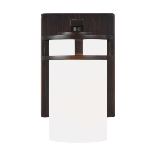 Robie Bronze One-Light Bath Vanity with Etched White Inside Shade Energy Star