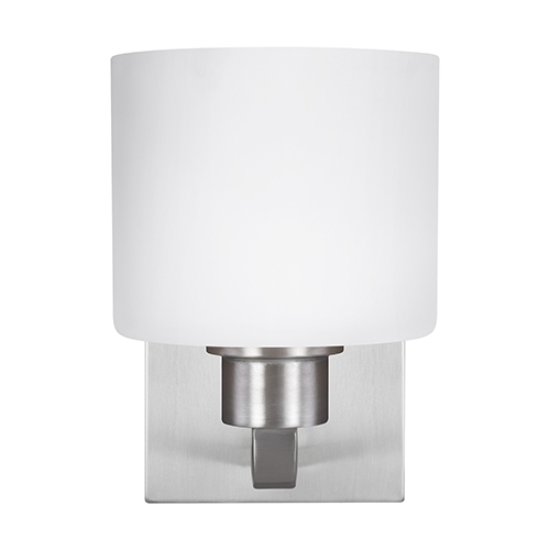 Sea Gull Lighting Canfield Brushed Nickel Six-Inch One-Light Bath Sconce