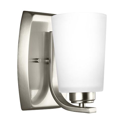 Sea Gull Lighting Franport Brushed Nickel Five-Inch One-Light Bath Sconce