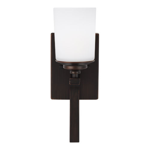 Kemal Bronze One-Light Bath Vanity with Etched White Inside Shade