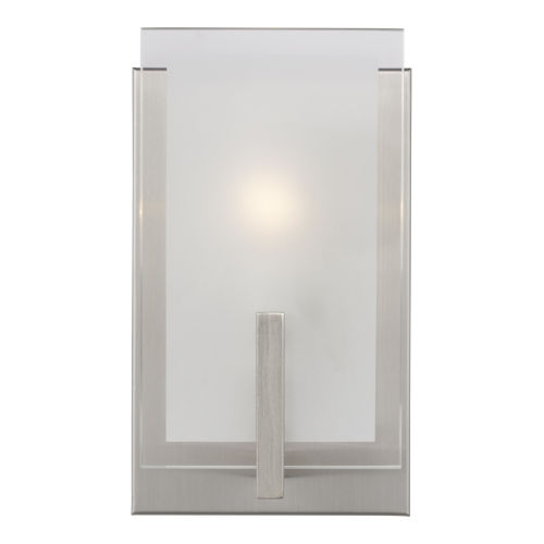 Syll Brushed Nickel One-Light Bath Vanity with Clear Highlighted Satin Etched Shade Energy Star