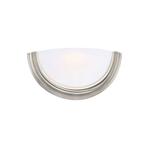 Sea Gull Lighting ADA Wall Sconces Brushed Nickel Energy Star LED Bath Sconce with Smooth White Glass
