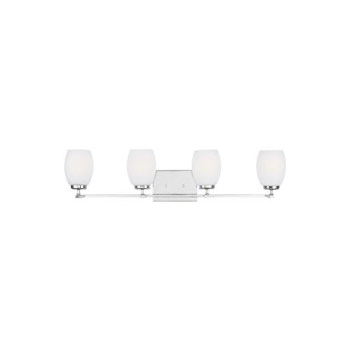 Catlin Chrome Four-Light Bath Vanity with Etched White Inside Shade Energy Star