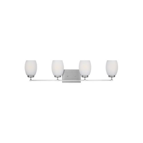 Catlin Brushed Nickel Four-Light Bath Vanity with Etched White Inside Shade Energy Star