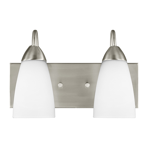 Sea Gull Lighting Seville Brushed Nickel Energy Star 14-Inch Two-Light Bath Vanity