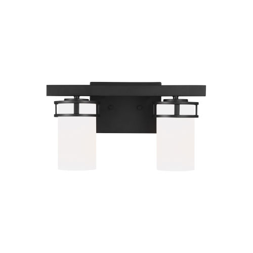 Robie Midnight Black Two-Light Bath Vanity with Etched White Inside Shade Energy Star