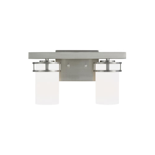 Robie Brushed Nickel Two-Light Bath Vanity with Etched White Inside Shade Energy Star