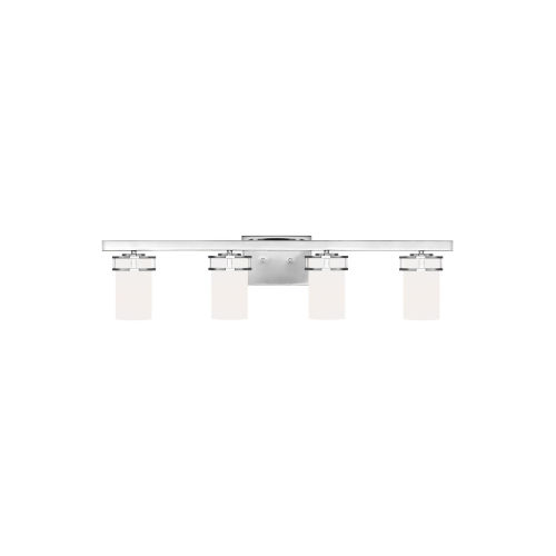 Robie Chrome Four-Light Bath Vanity with Etched White Inside Shade