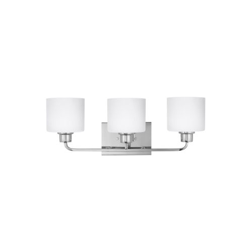Canfield Chrome Three-Light Bath Vanity with Etched White Inside Shade