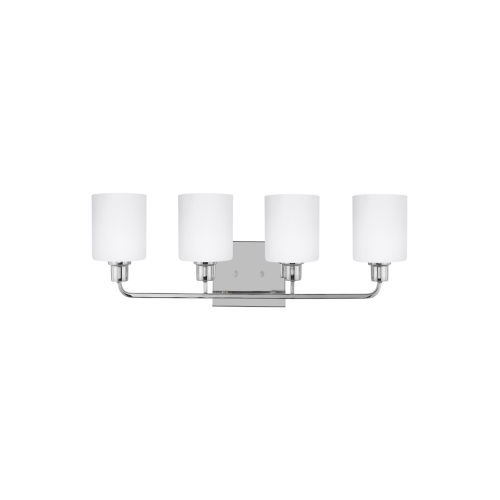 Canfield Chrome Four-Light Bath Vanity with Etched White Inside Shade