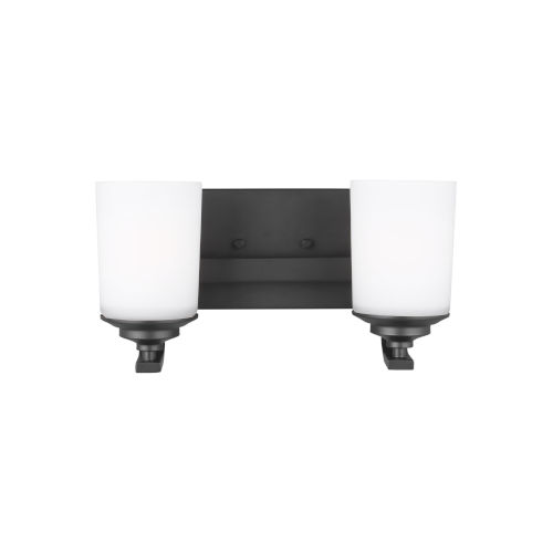 Kemal Midnight Black Two-Light Bath Vanity with Etched White Inside Shade