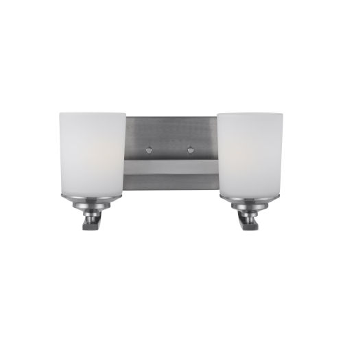 Kemal Brushed Nickel Two-Light Bath Vanity with Etched White Inside Shade Energy Star