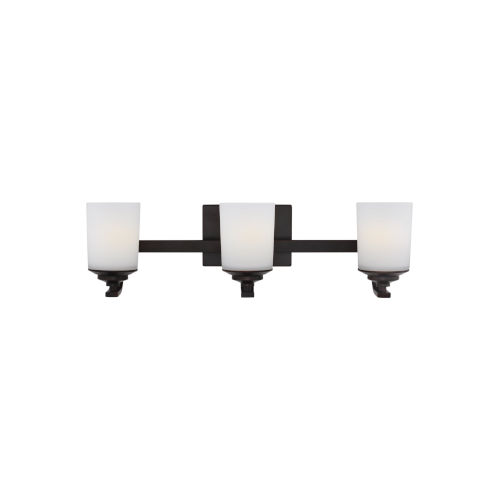 Kemal Burnt Sienna Three-Light Bath Vanity with Etched White Inside Shade Energy Star