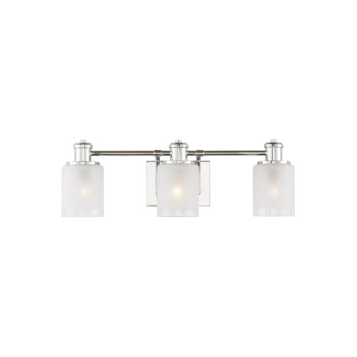 Norwood Chrome Three-Light Bath Vanity with Clear Highlighted Satin Etched Shade Energy Star
