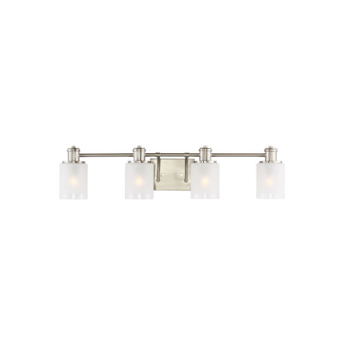 Norwood Brushed Nickel Four-Light Bath Vanity with Clear Highlighted Satin Etched Shade