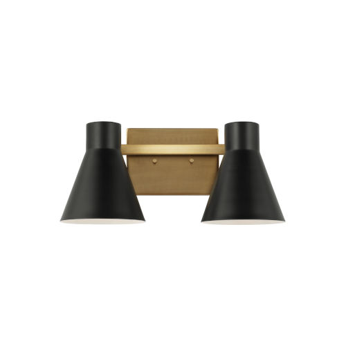 Towner Brown Two-Light Bath Vanity with Black Shade