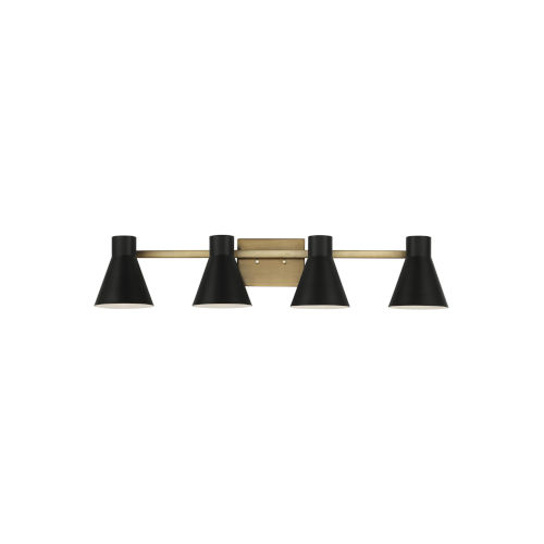 Towner Brown Four-Light Bath Vanity with Black Shade Energy Star