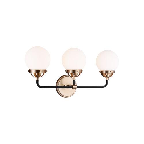 Cafe Satin Bronze Three-Light Bath Vanity with LED Bulbs